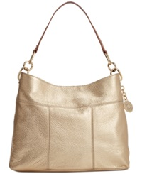 Tommy Hilfiger Th Signature Leather Small Hobo Metalic Gold