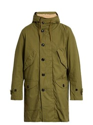 Saint Laurent Cotton Blend Canvas Hooded Parka Green