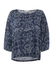 Part Two Feminine Blouse With A Detailed Print Blue