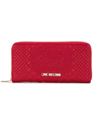 Love Moschino Quilted Zip Around Wallet Red