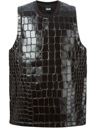 Ktz Embossed Crocodile Effect Faux Leather Sleeveless Top Black