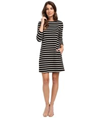 Lilla P Heavy Stripe Jersey 3 4 Sleeve A Line Dress Black Muslin Women's Dress