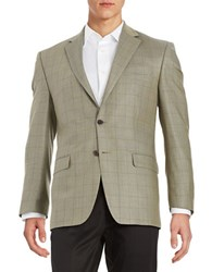 Lauren Ralph Lauren Checkered Wool Blazer Olive