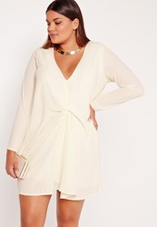 Missguided Plus Size Knot Oversized Dress Cream Cream