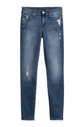 7 For All Mankind Seven Skinny Jeans With Distressed Detail Blue