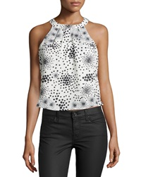 J.O.A. Joa Dot Print Sleeveless Cropped Blouse Ivory Black