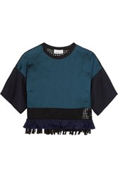 3.1 Phillip Lim Fringed Striped Satin Twill And Cotton Mesh Top Forest Green