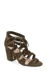 Sole Society Women's 'Sequoia' Block Heel Sandal Olive Suede