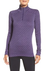 Smartwool Women's 'Nts Mid 250' Print Zip Base Layer Tee Mountain Purple Heather