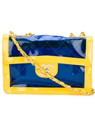 Chanel Vintage Two Tone Vinyl Shoulder Bag Yellow And Orange