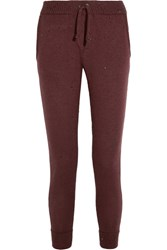 Brunello Cucinelli Embellished Cashmere And Silk Blend Track Pants Burgundy