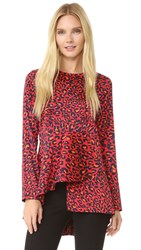 Goen.J Leopard Print Top Red