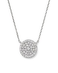Bloomingdale's Diamond Cluster Circle Pendant Necklace In 14K White Gold .50 Ct. T.W.