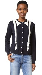 Chinti And Parker Braces Intarsia Cardigan Navy Cream