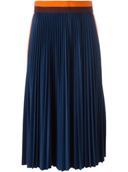 Msgm Striped Detail Pleated Skirt Blue