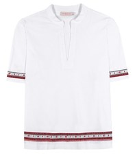 Tory Burch Embroidered Cotton Tunic White