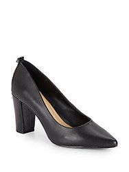 Ellen Tracy Plush Leather Point Toe Pumps Black