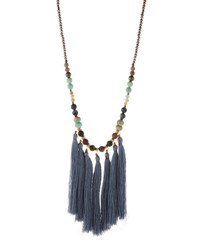 Nakamol Long Beaded Multi Tassel Pendant Necklace No Color