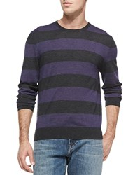 China Union Rugby Stripe Cashmere Sweater Charcoal Ruby