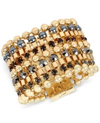 Kenneth Cole New York Gold Tone Imitation Pearl And Stone Multi Row Bracelet