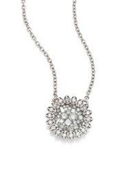 Pleve Ice Mini Flower Diamond And 18K White Gold Pendant Necklace