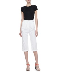 Halston Heritage Relaxed Fit Cropped Pants 0