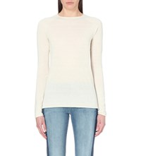 Vince Slim Fit Silk And Cashmere Blend Top Off White