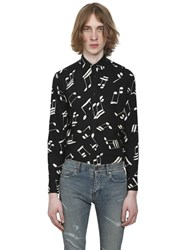 Saint Laurent Music Notes Printed Viscose Twill Shirt