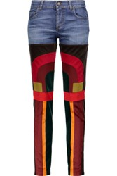 Tom Ford Patchwork Velvet And Satin Paneled Mid Rise Slim Leg Jeans Multi