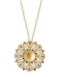 Roberto Coin 18K Citrine And Mixed Diamond Flower Pendant Necklace Women's