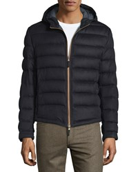 Luciano Barbera Cashmere Quilted Hooded Jacket Navy