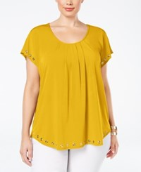 Ny Collection Plus Size Grommet Trim Swing Top Mustard