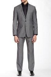 Vince Camuto Gray Herringbone Two Button Notch Lapel Slim Fit Wool Suit