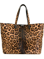 Victoria Beckham Leopard Print Tote Nude And Neutrals