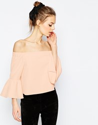 Asos Off The Shoulder Top With Ruffle Sleeve Pink