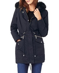 Phase Eight Erika Faux Fur Trim Parka Navy