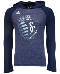 Adidas Men's Long Sleeve Sporting Kansas City Aerofade Hooded T Shirt Navy