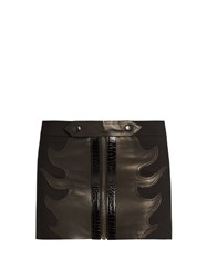 Anthony Vaccarello Leather Flame Wool Mini Skirt Black