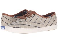Keds Champion Windowpane Plaid Tan Women's Lace Up Casual Shoes
