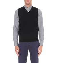 Canali Sleeveless Wool Jumper Navy