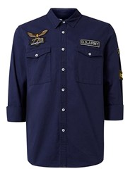Topman Blue Navy Badged Double Pocket Casual Shirt
