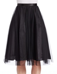 Marina Mesh And Chiffon A Line Skirt Black