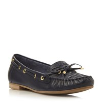 Dune Goff Woven Moccasin Loafers Navy
