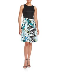 Gabby Skye Floral Fit And Flare Dress Turquoise