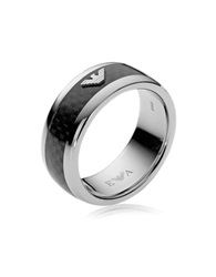 Emporio Armani Iconic Carbon Fiber And Stainless Steel Men's Ring Black