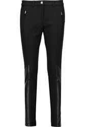 Michael Kors Collection Leather Paneled Stretch Cotton And Modal Blend Twill Skinny Pants Black