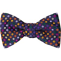 Duchamp Men's Polka Dot Silk Jacquard Bow Tie Navy