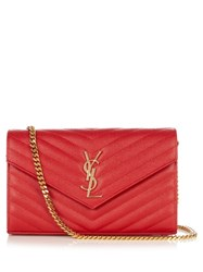 Saint Laurent Monogram Envelope Quilted Leather Cross Body Bag Red