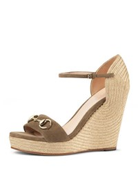 Gucci Carolina Suede Wedge Espadrille Sandal Taupe