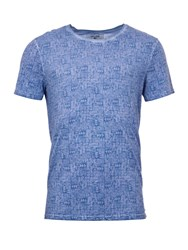 Garcia Printed Cotton T Shirt Blue